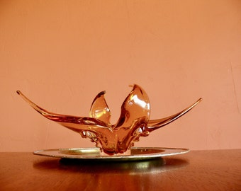 Chalet Amber Art Glass Stretch Arm Bowl, Free Form Amber Clear, Mid Century Gallery Art Glass Sculpture
