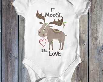 It Moose Be Love Baby Bodysuit | Animal Baby Clothes | Baby Shower Gift | Funny Baby Bodysuit | Take Home Outfit | Cute Baby Bodysuit