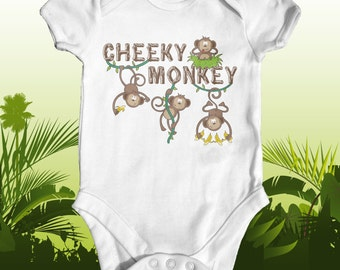 Cheeky Monkey baby bodysuit | cute baby clothes | baby shower gift | animal baby bodysuit | funny baby bodysuit | newborn baby clothes