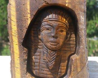 322g Tiger Eye Egyptian Pharaoh Carving