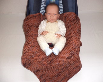 knitted baby blankets cot blanket Merino Wool Brown