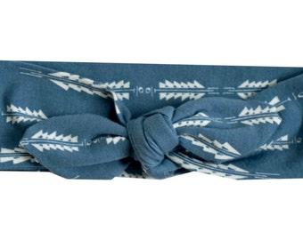 Nightfall Jersey Knit Aura Fletching Blue Top Knot Headband, Baby Headband, Turban Headband, Toddler Headband, Kids Headband, Hair Accessory