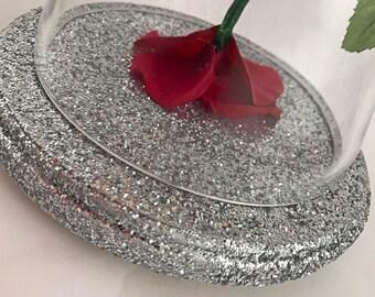Enchanted Rose, Life Size Rose, Beauty and the Beast Rose, Pink Rose, Light Up Rose, Magenta, Wedding Rose, Rose Bell Jar