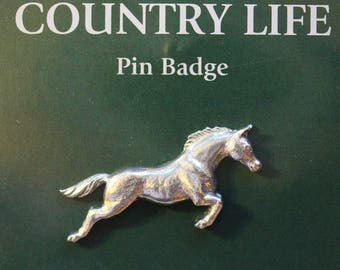 Horse Pin Badge - Pewter, Country Life (40mm long) [CLHORPPIN]