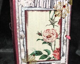 ROSETTE ... Junk Journal, Writing Journal, Diary Journal, Personal Journal, Handmade Journal, Handcrafted Journal, Mixed Media Journal