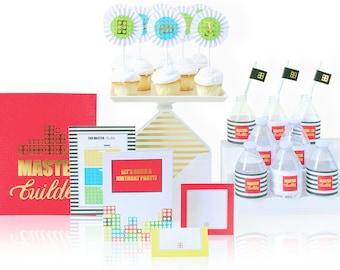 LEGO Party, LEGO Party Invitations, LEGO Birthday Party, Party Supplies, Boy Birthday Party
