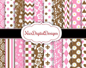 Buy 2 Get 1 Free-20 Digital Papers.  Floral Patterns in Pink and Brown (9 no 18) for Personal Use and Small Commercial Use Scrapbooking