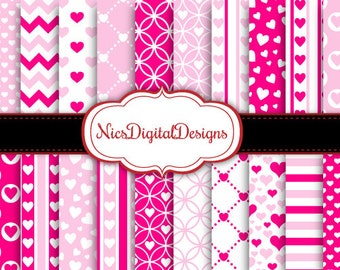 Buy 2 Get 1 Free-20 Digital Papers. Pink Hearts for Valentine's Day (2B no 6) for Personal Use and Small Commercial Use Scrapbooking