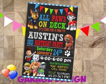 Paw Patrol Birthday Invitation, Paw Patrol Invitation, Paw Patrol Chalkboard Birthday invitation, Paw Patrol with Photo Birthday Invitation