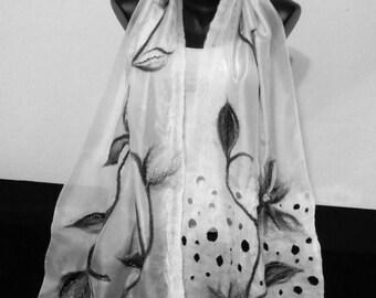 White and Black Silk Scarf, Nuno Felted Shawl, Floral Grey Wrap, Long Merino Shawl, Bridal Shawl, Wedding Wrap, Lightweight Nuno Felt Scarf