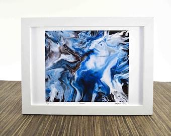 Blue and White Bathroom Art - Abstract Water Prints - Resin Art Print - Earth Art - Blue Art Prints - Fluid Painting Print - Kitchen Art