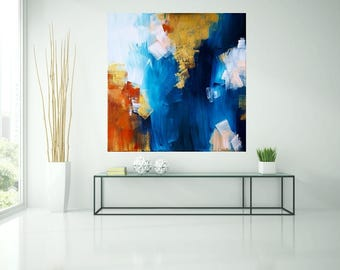 Abstract image, blue, gold, white, blue, acrylic, art, painting, original art by Camilla Schima