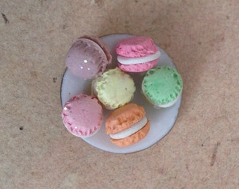Miniature, dollhouse plate with Macarons 1:12