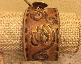 Cuff Bracelet,Brown Leather, hand painted recycled belt  Fun & Funky!