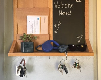 Key and Mail Prganizer with Chalk Message Board