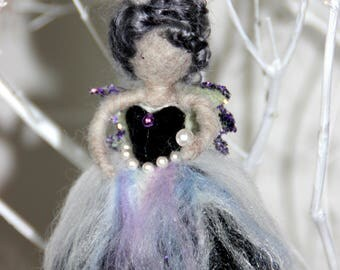 Wool felt/Waldorf-inspired angel/fairy hanging decoration - Winter