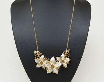 Gold and white flower leaves bib statement chunky crystal long pendant necklace collar neckpiece, Spring summer necklace, Gift for woman