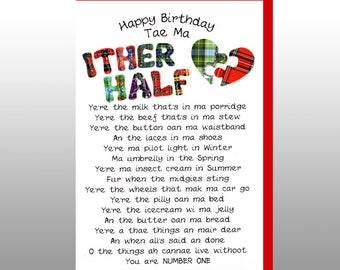 Scottish Birthday Card Ither Half WWBI54