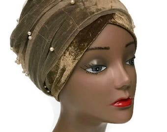 Kamto Collections Velvet Beaded Net Turban Headwrap with Long strap