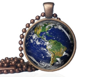 Earth pendant - Earth Necklace - Planet Earth pendant - Planet Earth necklace - astronomy pendant - outer space pendant