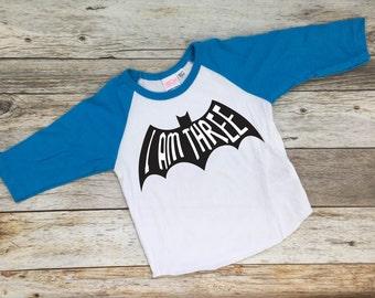I Am Three Batman Shirt. Batman Shirt. Batman Birthday. Batman Party. Batman Birthday Shirt.