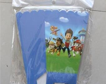 Popcorn Cup Box 6pcs/lots Happy Birthday Party Paw Patrol prints Popcorn Candy Box for kids Favor Gift 24pcs