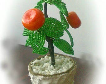 Mandarin tree. A symbol of wealth and prosperity. Мандариновое дерево. Богатство и процветание. Beaded tree. Very good present.Fruit tree