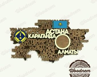3D карта Казахстана из дерева. Wooden map