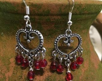 Tibetan Silver Heart Earrings