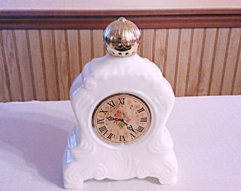 Collectible clock shaped Avon white milk glass bottle, vintage 1970s Avon bottle.