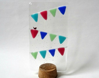 Fused glass bunting panel, handmade stained glass art, wooden stand, gift for her, home decor, Mother's Day, gift for mum, Valentines gift