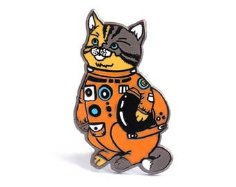 Cat enamel pin, astronaut pin, space lover, cat in a space suit, space helmet pin, cat lapel pin, space cat pin, cat lover pin, Houston cat