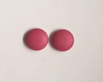 20mm Fabric Studs • Hot Pink • Leatherette • Surgical Steel • Button studs • Button earrings • Fabric Earrings
