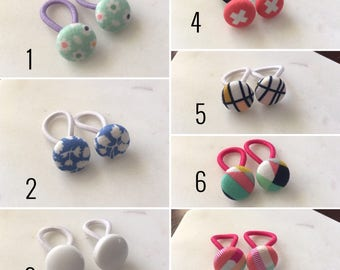 Mini Fabric Button Hair Ties 1 PAIR • Baby Hair Ties • Toddler Elastics • Girls • Hair Accessories • Snag Free