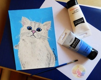 "White Cat Painting on Blue Background, 9""x6.5"" Acrylic on watercolor paper, original hand painted, kid's room decor, cat painting, cute cat"