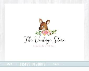 Deer Logo Design ,Vintage Logo, Baby Doe Logo, Photography Logo, Baby Boutique Logo ,Watermark,Watercolor Logo, Floral Logo