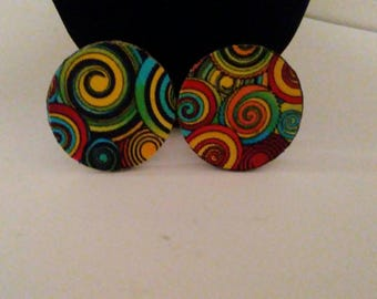 "Swirls My Way""Fabric Earrings, Muticolor Earrings, African Print, African Fashion"