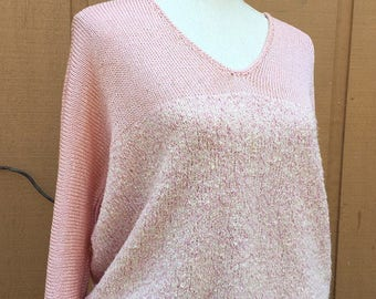 80's Vintage Coral Silk & Angora Sweater, Hand-Knit,  1980's Sweetheart Sweater
