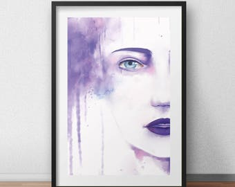 One Female Waterpaint Face A4 Print