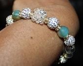Cute shiny, Crystal, Czech Crystal disco-ball rhinestone-beaded handmade bracelet; beadweaving, shamballa, blue & white