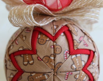 Gingerbread Candy Cane Fabric Quilted Christmas Ornament