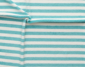 1/2 Yard Organic Cotton Terry Fabric,NOSH ORGANICS,Stripe Terry,Aqua/Vanilla Stripe Terry