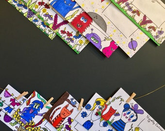 10 Decorated Envelopes/ Mail Art/Original Art