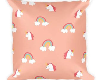Rainbow Unicorn Coral Throw Pillow