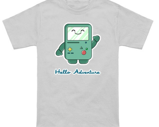 HELLO ADVENTURE Adventure Time/Hello Kitty Mashup BMO Jake Finn Sanrio Funny Geek T-Shirt Anime Nerd Shirt