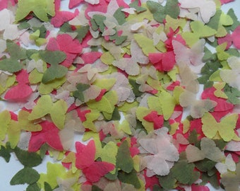 Secret Garden Pink and Green Biodegradable Tissue Paper Butterfly Confetti  Mix Wedding Party