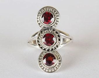 Garnet Ring, Faceted Natural Garnet Gemstone Ring, Garnet Sterling Silver Ring,Triple Garnet Ring, Garnet Long Ring, Round Garnets Boho Ring