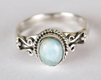 Larimar Ring, Natural Larimar Gemstone Ring, Sterling Silver Ring, Silver Larimar Ring, Larimar Jewelry, Blue Stone Ring, Boho Ring