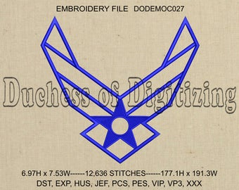 Air Force Embroidery Design, Air Force Embroidery File,  Military Embroidery, Air Force, DODEMOC027