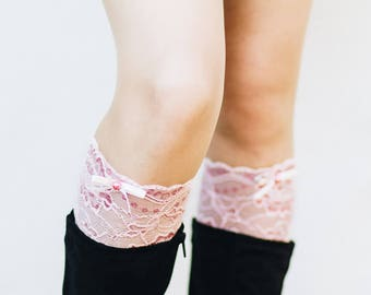 Lace Boot Cuffs / Lace Boot Socks / Pink Bridesmaid Gift / Boho Chic Wedding / Womens Boot Cuffs / Boot Toppers / Leg Warmers // Light Pink